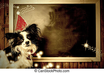 Funny dog Christmas greeting cards. Copy space.