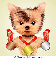 Funny dog holding gold, silver and bronze medal. Concept of...