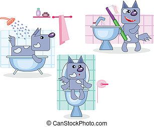 Funny dog, hygiene procedures