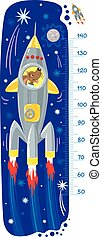 Cheerful funny dog or puppy in space rocket. Height chart or meter wall or wall sticker. Childrens vector illustration with scale from 50 to 120 centimeter to measure growth