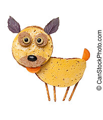 Funny dog made of bread and cheese on white background