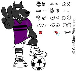 funny dog soccer cartoon set expressions