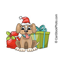 Funny Dog Wearing Santa Hat with Christmas Gift Boxes