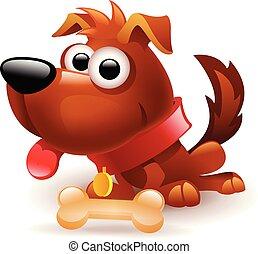 funny dog with bone