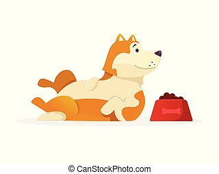 Funny dog with dog food lying vector flat illustration. Dog cartoon character isolated on white background.