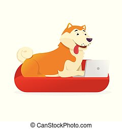 Funny dog with laptop rounds its tail up vector flat illustration. Dog cartoon character isolated on white background.