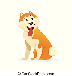 Funny dog with tongue wags tail sitting vector flat illustration. Dog cartoon character isolated on white background.