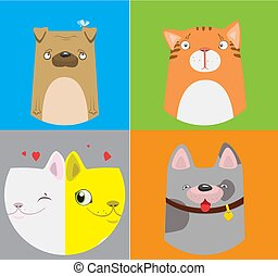 Funny dogs and cats pattern. Vector cute illustration.