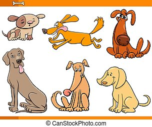 funny dogs cartoon characters set