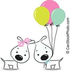 Funny dogs' couple with balloons