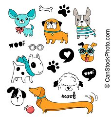 Funny dogs, puppies doodles, sketches and illustrations. Vector icons