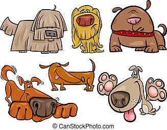 funny dogs set cartoon illustration - Cartoon Illustration ...