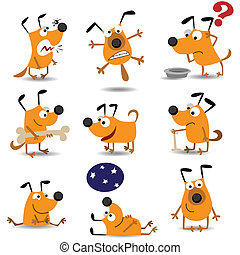 Funny dogs set for web design