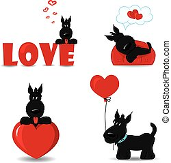 Funny dogs with hearts