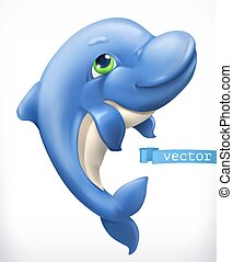 Funny dolphin. 3d vector icon