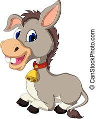funny donkey cartoon sitting