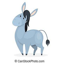 Funny donkey. Domestic animal character. Gray friendly farm...