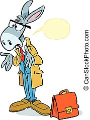 The illustration shows a donkey with the briefcase in the form of a learned man.