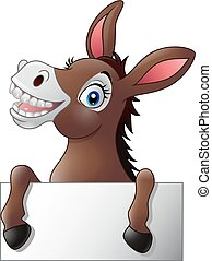 Funny donkey with blank sign