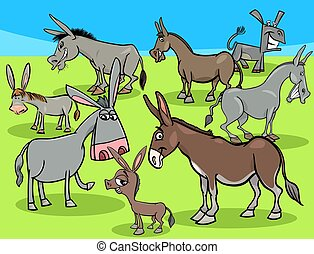 funny donkeys cartoon farm animals group