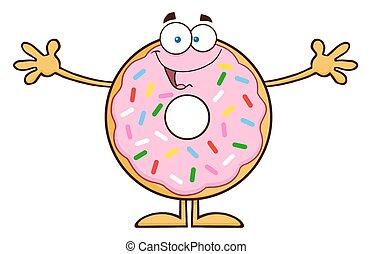 Funny Donut Cartoon Character