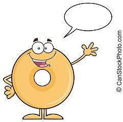Donut Cartoon Character Waving