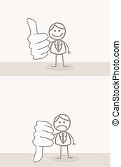 Business Man Thumb UP DOWN