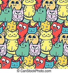 Funny doodle cats and kittens seamless pattern for prints,...
