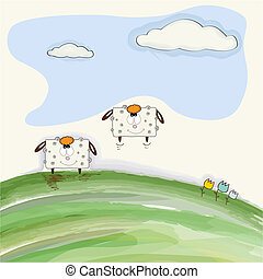 funny doodle sheep  bounce on meadow