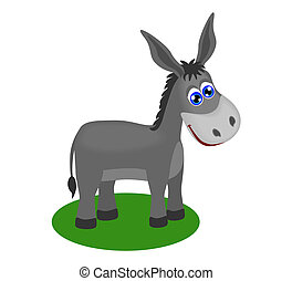 Funny drawing of cute donkey, vector illustration