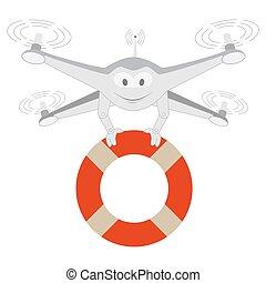 Funny Drone. Lifeline. Isolated - Funny Drone. Lifeline...