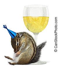 Funny drunk chipmunk, celebrate concept