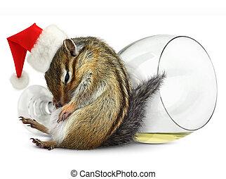 Funny drunk chipmunk dress santa hat with champagne glass