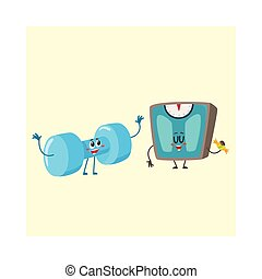 Funny dumbbell and scale characters with human faces, weight management