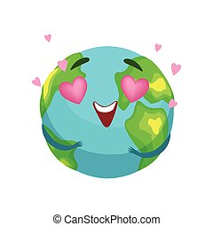 Funny Earth planet character with pink heart shaped eyes, cute globe with smiley face and hands vector Illustration