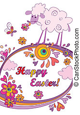Funny easter background with lamb