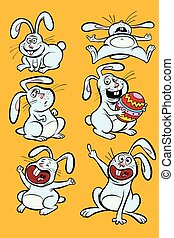 Funny Easter Bunny character set collection