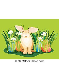 Funny Easter bunny in the grass with hidden eggs