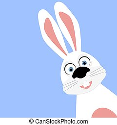 Funny easter bunny on a blue background