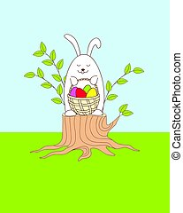 funny easter bunny siting on the stump with a basket