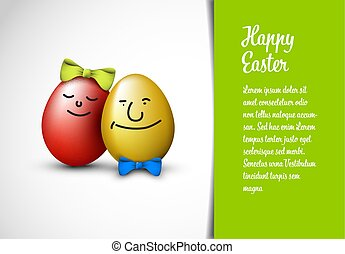 Funny Easter Card template - Funny easter eggs with a bow -...