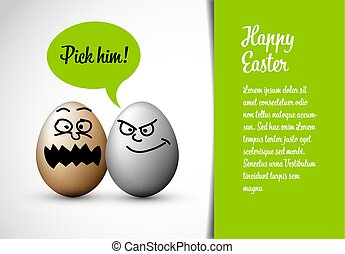 Funny easter card with easter eggs and a speech bubble with...