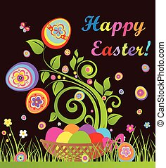 Funny easter card with tree and basket with colorful eggs