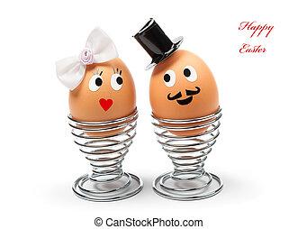 Funny easter eggs on white