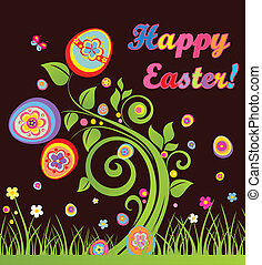 Funny easter greeting card with tree