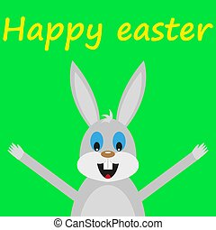 Funny easter rabbit on green background
