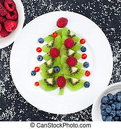 Funny edible Christmas tree, Christmas breakfast idea for kids