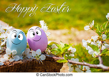 Funny eggs for Happy Easter in nature