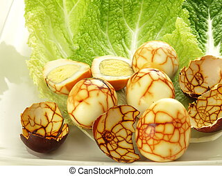 Funny eggs - Funny boiled eggs with brown cracked pattern