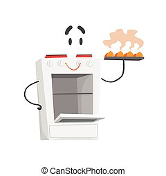 Funny electric cooker character with smiling face, humanized home electrical equipment vector Illustration